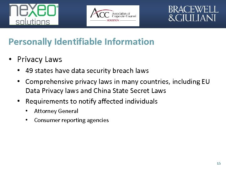 Personally Identifiable Information • Privacy Laws • 49 states have data security breach laws