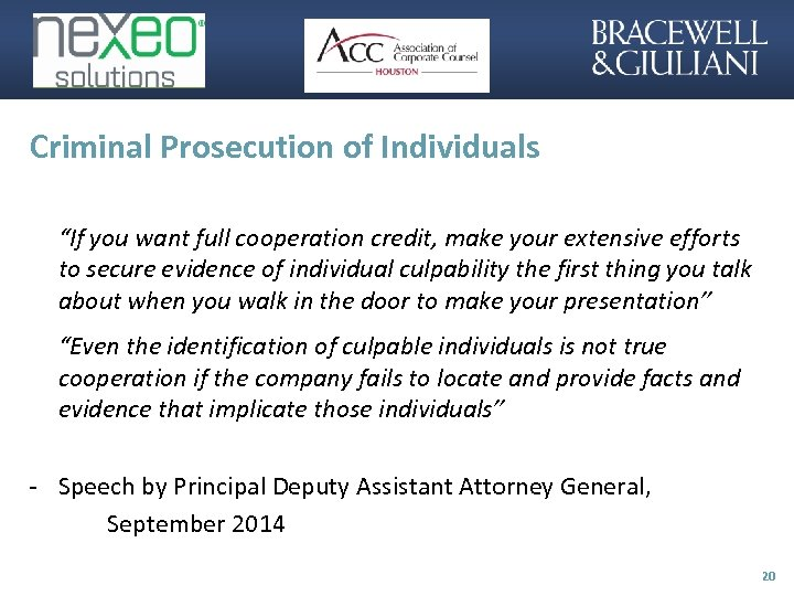 """Criminal Prosecution of Individuals """"If you want full cooperation credit, make your extensive efforts"""