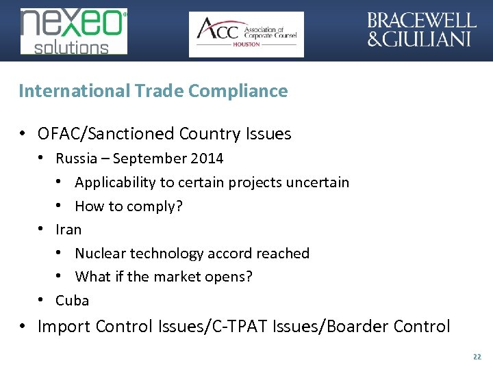 International Trade Compliance • OFAC/Sanctioned Country Issues • Russia – September 2014 • Applicability