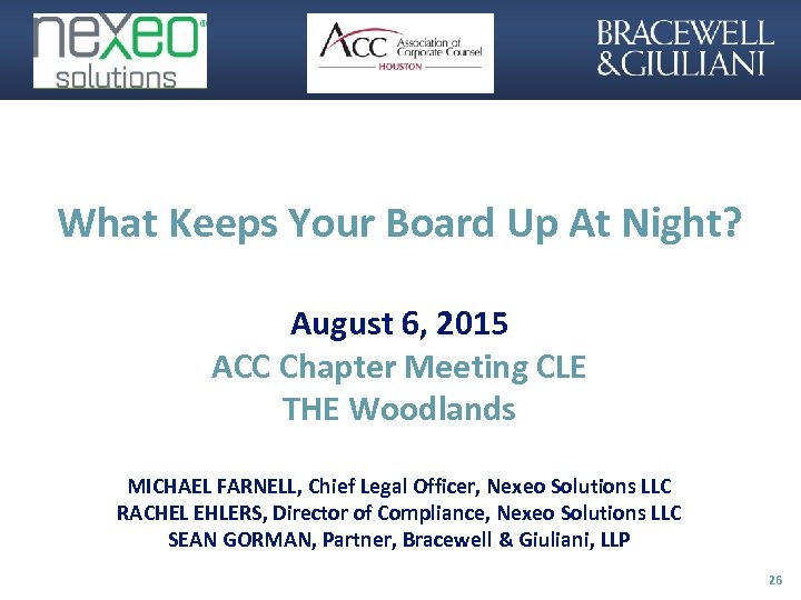 What Keeps Your Board Up At Night? August 6, 2015 ACC Chapter Meeting CLE