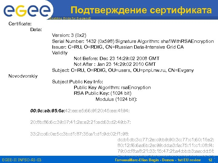 Подтверждение сертификата Enabling Grids for E-scienc. E Certificate: Data: Version: 3 (0 x 2)