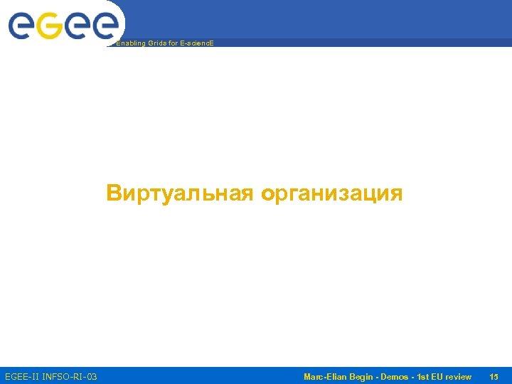 Enabling Grids for E-scienc. E Виртуальная организация EGEE-II INFSO-RI-031688 Marc-Elian Begin - Demos -