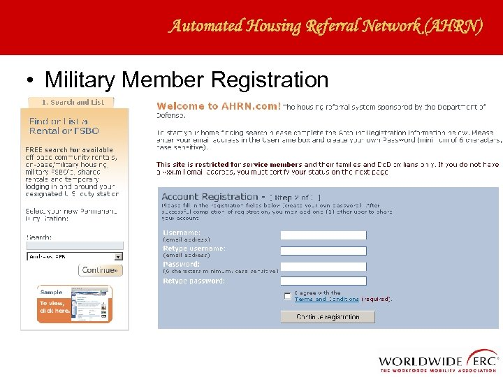 Automated Housing Referral Network (AHRN) • Military Member Registration
