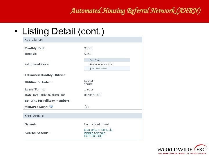 Automated Housing Referral Network (AHRN) • Listing Detail (cont. )
