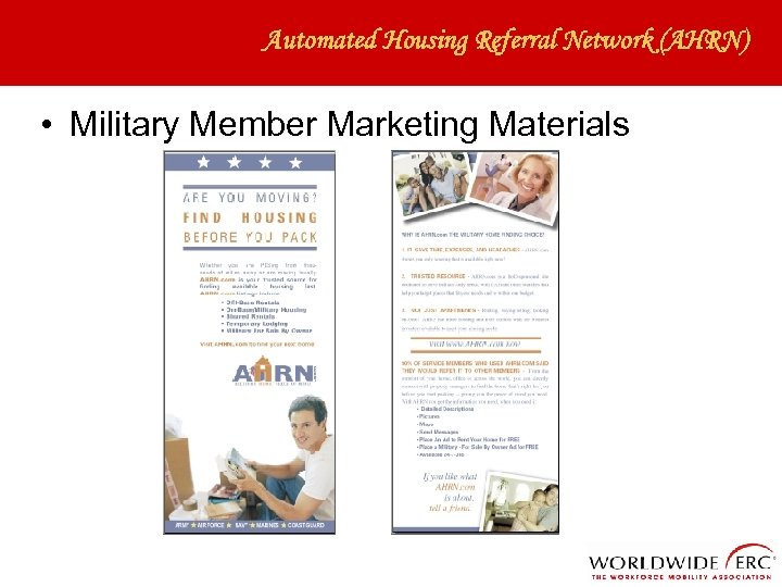 Automated Housing Referral Network (AHRN) • Military Member Marketing Materials