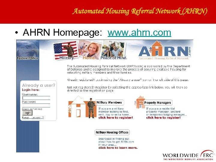 Automated Housing Referral Network (AHRN) • AHRN Homepage: www. ahrn. com