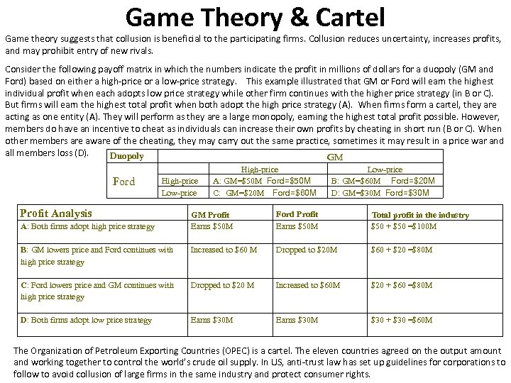 Game Theory & Cartel Game theory suggests that collusion is beneficial to the participating
