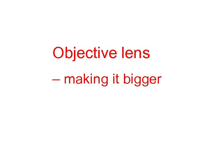 Objective lens – making it bigger