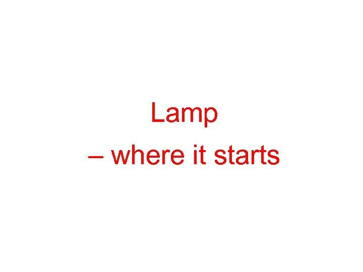 Lamp – where it starts