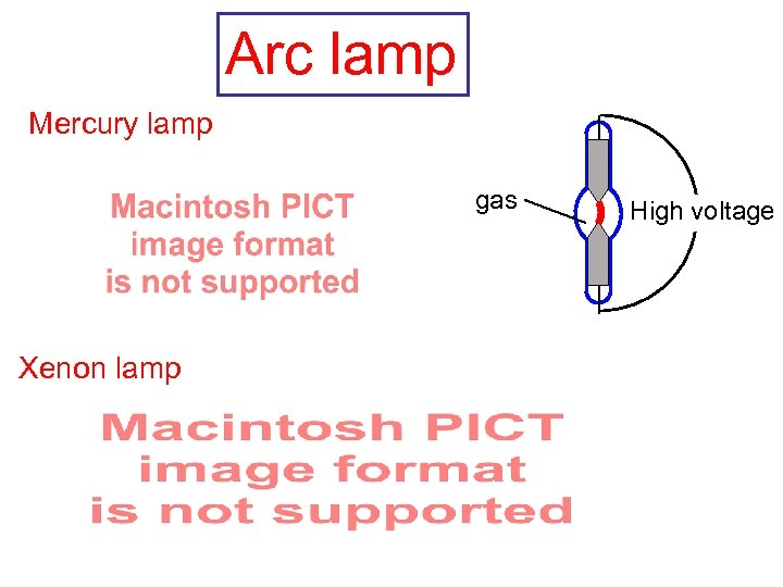 Arc lamp Mercury lamp gas Xenon lamp High voltage