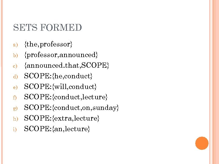 SETS FORMED a) b) c) d) e) f) g) h) i) {the, professor} {professor,