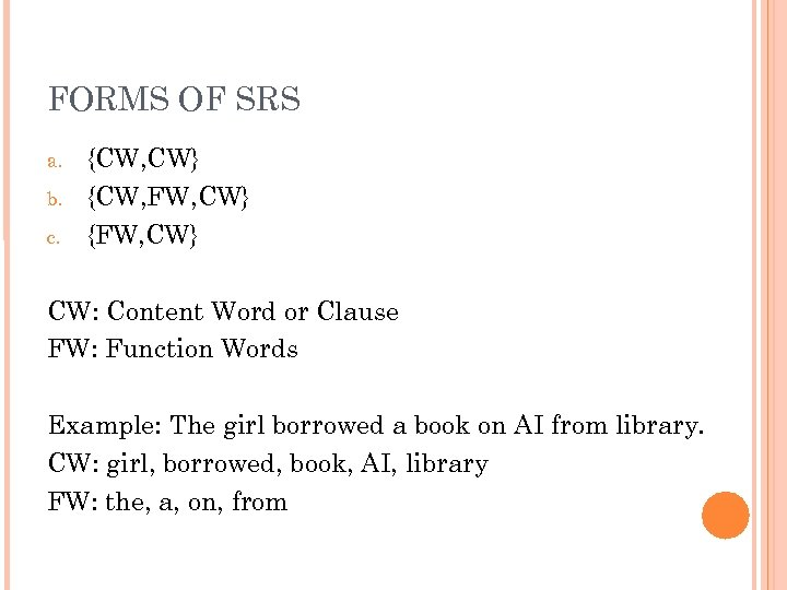 FORMS OF SRS a. b. c. {CW, CW} {CW, FW, CW} {FW, CW} CW: