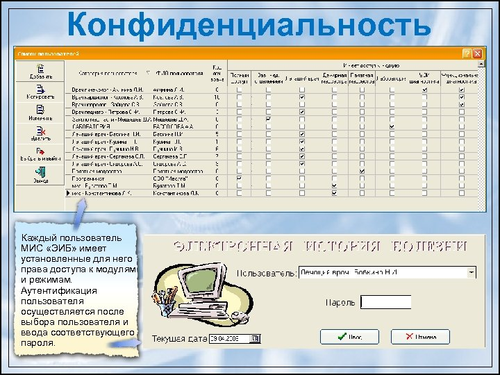 Конфиденциальность Каждый пользователь МИС «ЭИБ» имеет установленные для него права доступа к модулям и