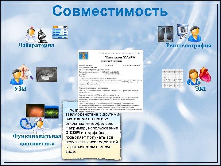 Совместимость Лаборатория Рентгенография База данных УЗИ Предусмотрено взаимодействие с другими системами на основе открытых