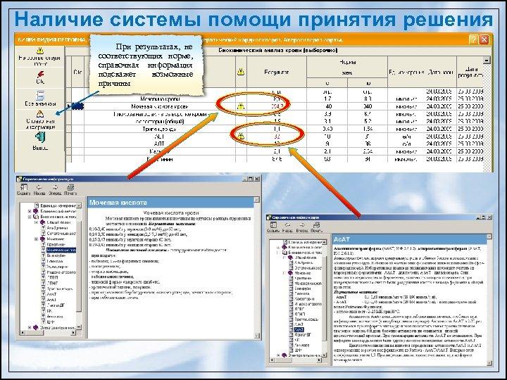Наличие системы помощи принятия решения При результатах, не соответствующих норме, справочная информация подскажет возможные