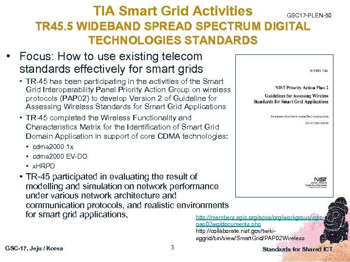 TIA Smart Grid Activities GSC 17 -PLEN-50 TR 45. 5 WIDEBAND SPREAD SPECTRUM DIGITAL