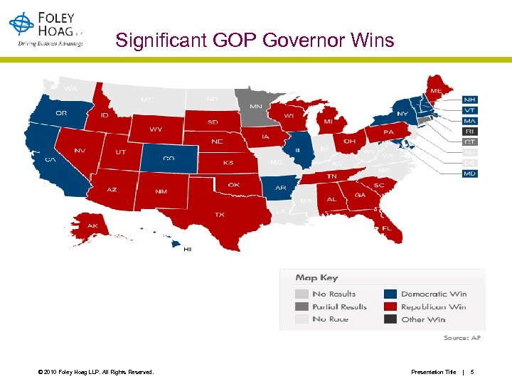 Significant GOP Governor Wins © 2010 Foley Hoag LLP. All Rights Reserved. Presentation Title