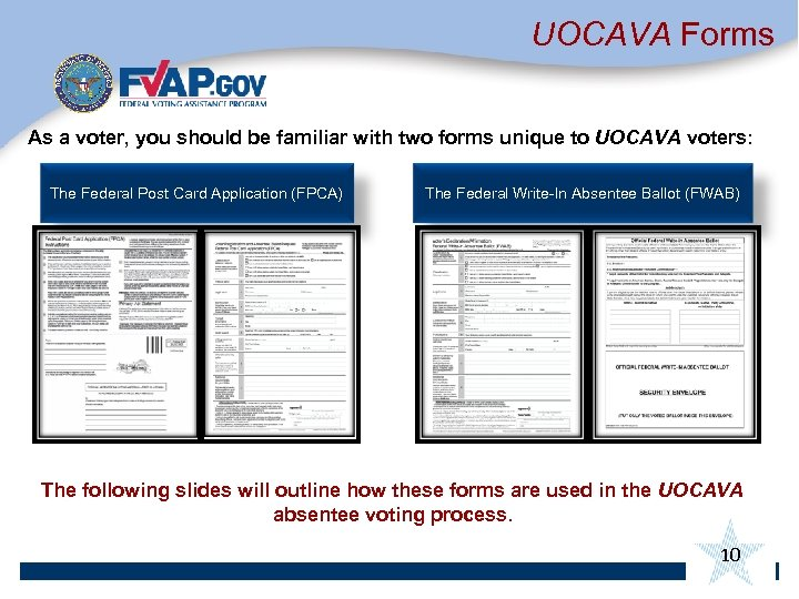 UOCAVA Forms As a voter, you should be familiar with two forms unique to