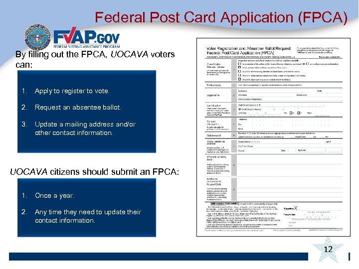 Federal Post Card Application (FPCA) By filling out the FPCA, UOCAVA voters can: 1.