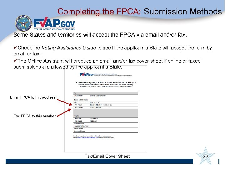 Completing the FPCA: Submission Methods Some States and territories will accept the FPCA via