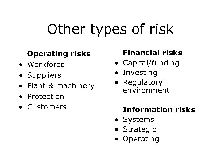 Other types of risk • • • Operating risks Workforce Suppliers Plant & machinery
