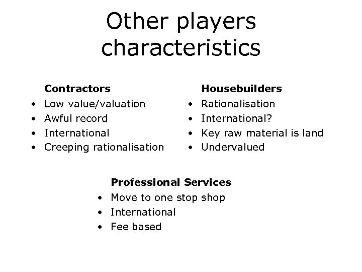 Other players characteristics Contractors • • Housebuilders Low value/valuation Awful record International Creeping rationalisation