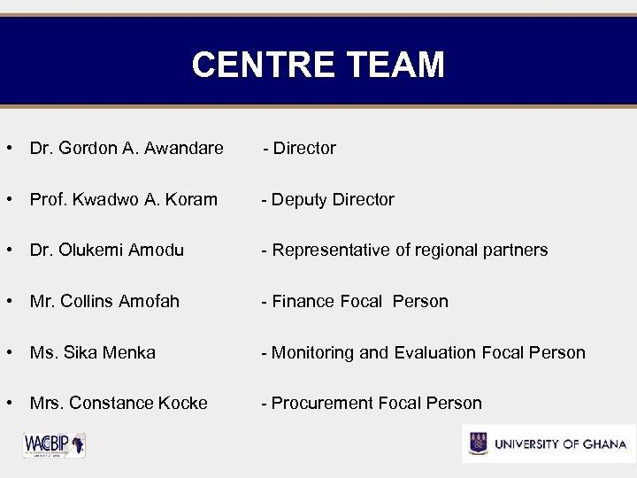 CENTRE TEAM • Dr. Gordon A. Awandare - Director • Prof. Kwadwo A. Koram