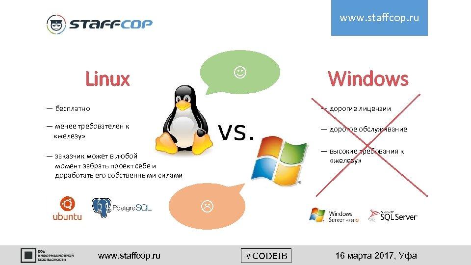 www. staffcop. ru Linux Windows — бесплатно — дорогие лицензии — менее требователен к