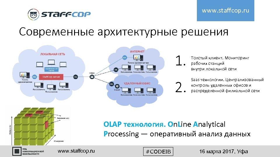 www. staffcop. ru Современные архитектурные решения 1. 2. Толстый клиент. Мониторинг рабочих станций внутри