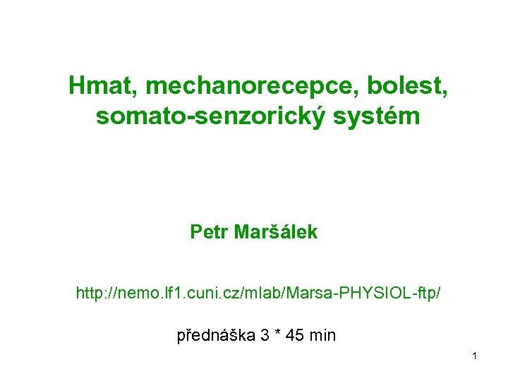 Hmat, mechanorecepce, bolest, somato-senzorický systém Petr Maršálek http: //nemo. lf 1. cuni. cz/mlab/Marsa-PHYSIOL-ftp/ přednáška