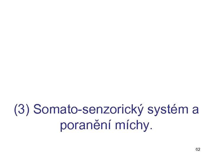 (3) Somato-senzorický systém a poranění míchy. 62