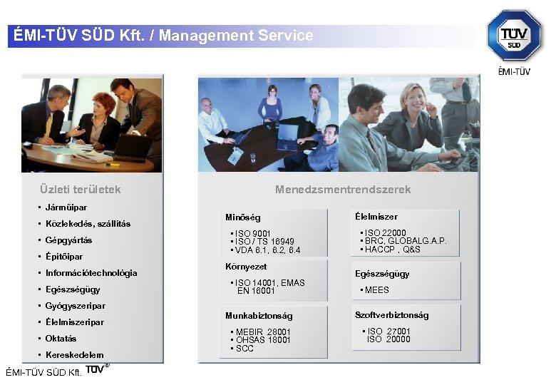 ÉMI-TÜV SÜD Kft. / Management Service Üzleti területek Menedzsmentrendszerek • Járműipar • Közlekedés, szállítás