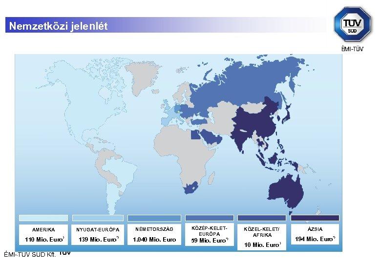Nemzetközi jelenlét AMERIKA 110 Mio. Euro . ÉMI-TÜV SÜD Kft. NYUGAT-EURÓPA ) 139 Mio.