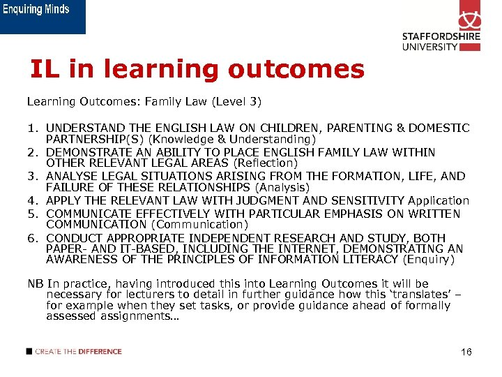IL in learning outcomes Learning Outcomes: Family Law (Level 3) 1. UNDERSTAND THE ENGLISH