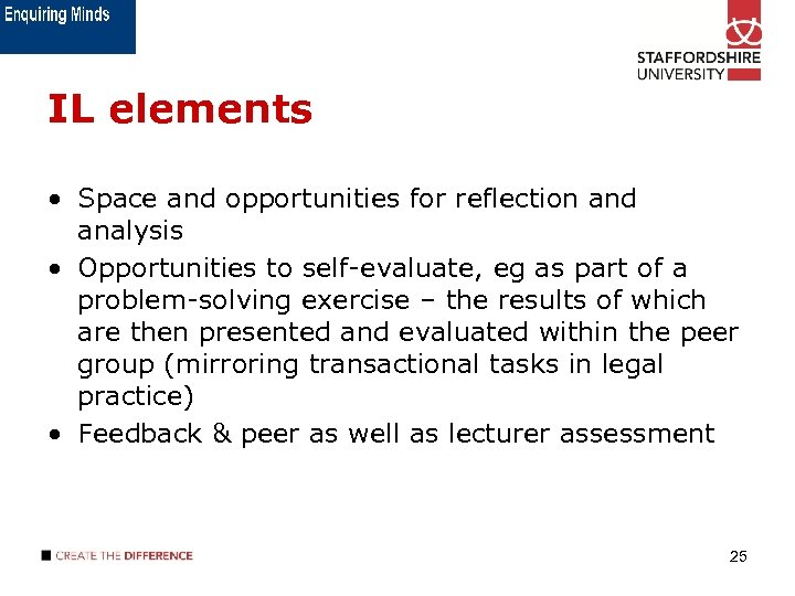 IL elements • Space and opportunities for reflection and analysis • Opportunities to self-evaluate,