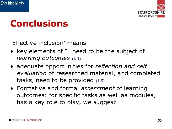 Conclusions 'Effective inclusion' means • key elements of IL need to be the subject