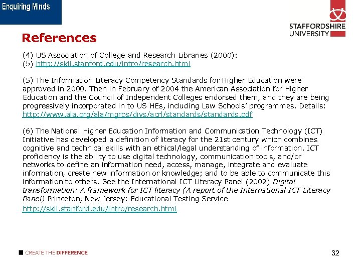 References (4) US Association of College and Research Libraries (2000): (5) http: //skil. stanford.