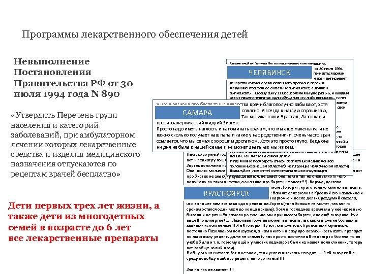 Программы лекарственного обеспечения детей Невыполнение Постановления Правительства РФ от 30 июля 1994 года N