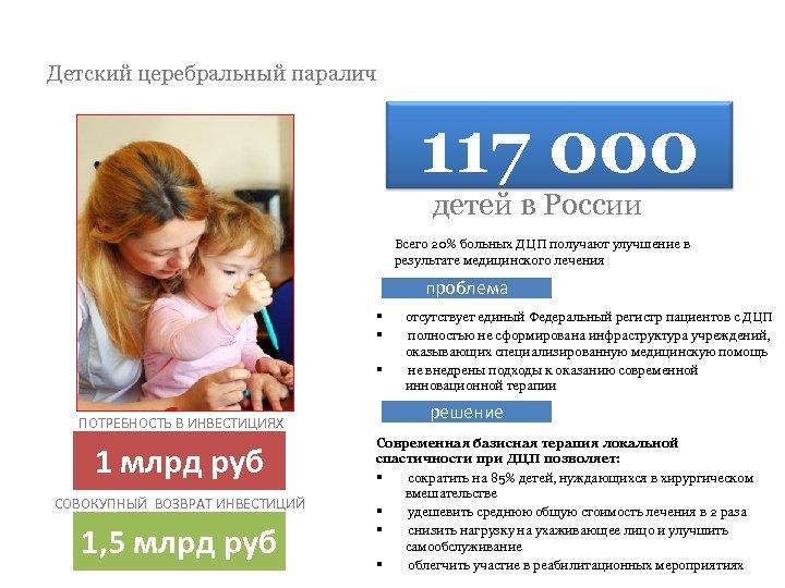 Детский церебральный паралич 117 000 детей в России Всего 20% больных ДЦП получают улучшение