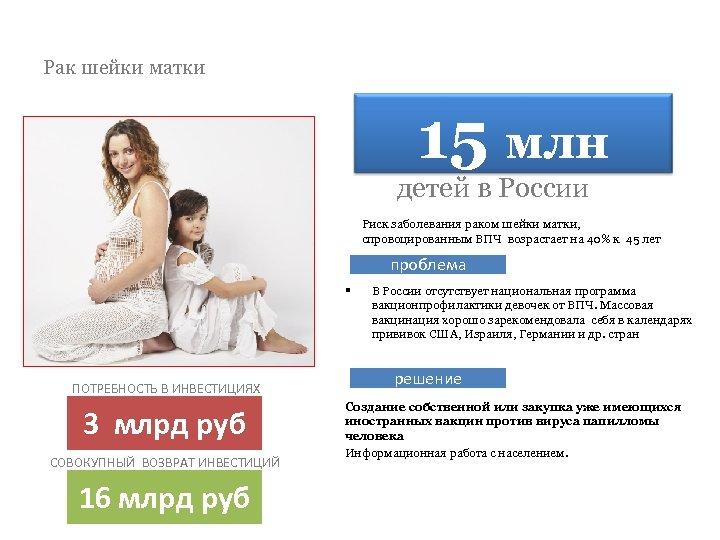 Рак шейки матки 15 млн детей в России Риск заболевания раком шейки матки, спровоцированным