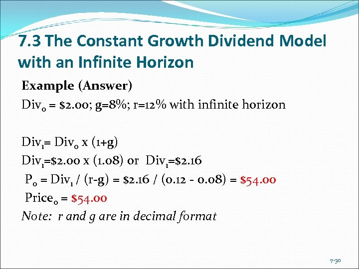 7. 3 The Constant Growth Dividend Model with an Infinite Horizon Example (Answer) Div