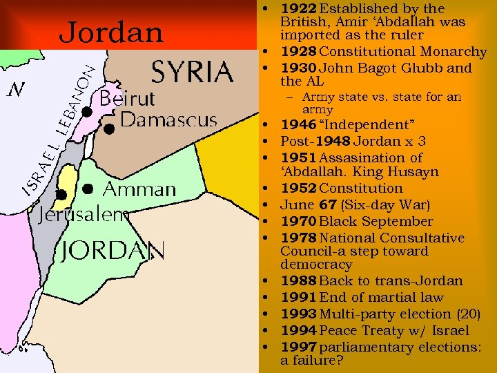 Jordan • 1922 Established by the British, Amir 'Abdallah was imported as the ruler