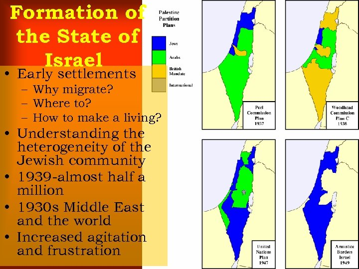 Formation of the State of Israel • Early settlements – Why migrate? – Where