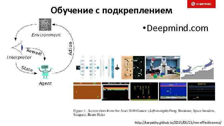 Обучение с подкреплением • Deepmind. com http: //karpathy. github. io/2015/05/21/rnn-effectiveness/