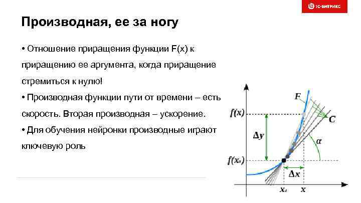 Производная, ее за ногу • Отношение приращения функции F(x) к приращению ее аргумента, когда