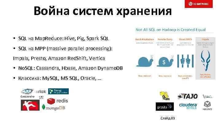 Война систем хранения • SQL на Map. Reduce: Hive, Pig, Spark SQL • SQL