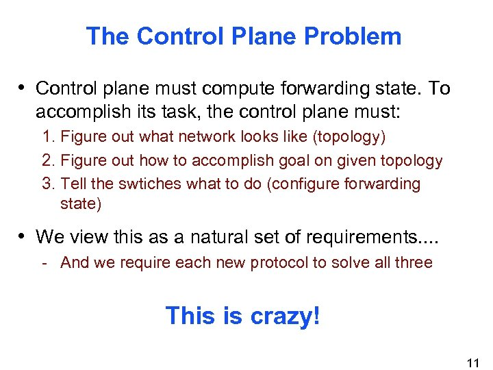 The Control Plane Problem • Control plane must compute forwarding state. To accomplish its