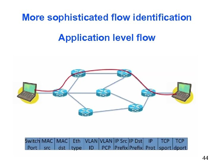 More sophisticated flow identification Application level flow 44