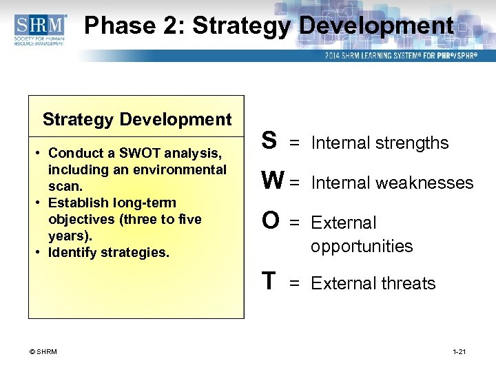 Phase 2: Strategy Development • Conduct a SWOT analysis, including an environmental scan. •