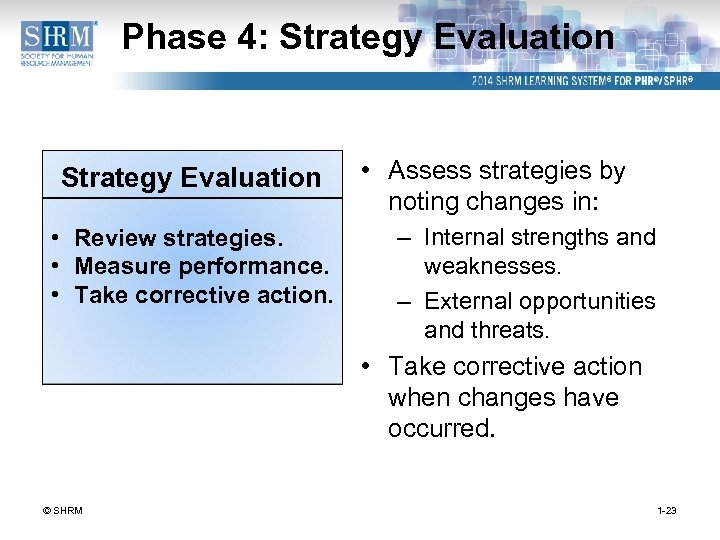Phase 4: Strategy Evaluation • Review strategies. • Measure performance. • Take corrective action.